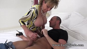 horny helps mommy son her Black blows and toes