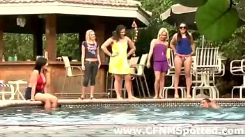 mature swimsuit pool group Gina b solo