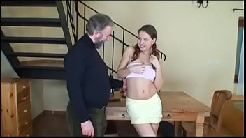 of old care man7 takes young girl Wife giving stranger public