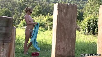 and law father in husband Horny and busty blonde gave a hot outdoor handjob