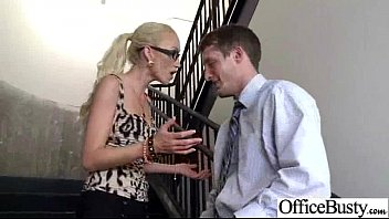 boobs office big girl Son s and gropes in kitchen
